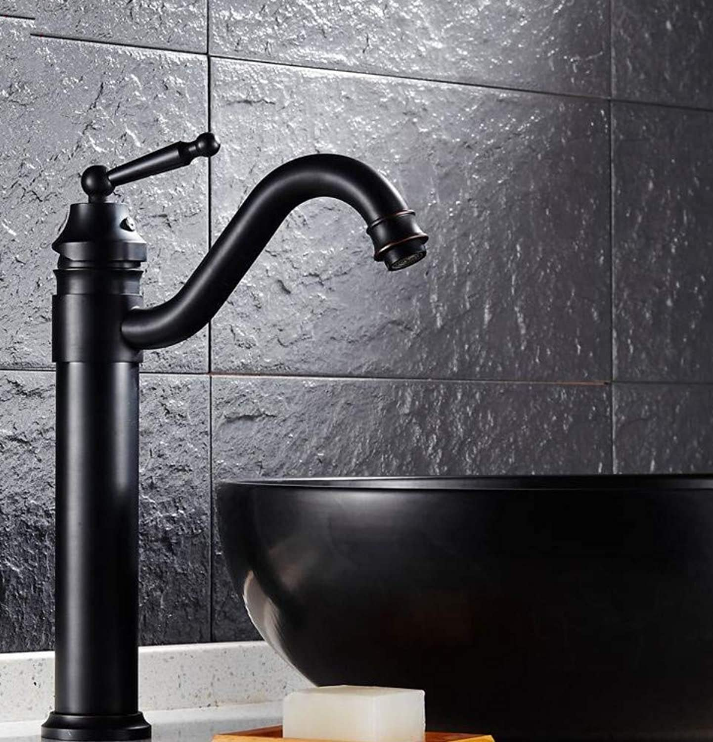 redOOY Black Brass Retro Bathroom Basin Sink Mixer Taps Deck Mounted Single Holder Swivel Spout Black Faucet