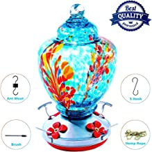 Upgraded Hummingbird Feeder, Garden Bird Feeders Easy to Clean&Filling,Thick Bird Feeder Best with Color Hand Blown Glass,Leakproof 32 Ounces Hummingbird Feeders,Hanging Hook&Ant Moat