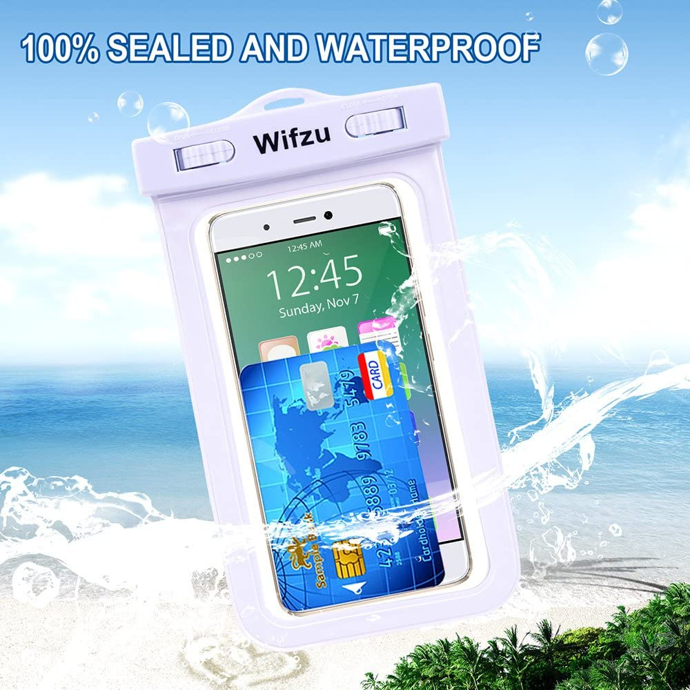 Wifzu Waterproof Phone Pouch Universal IPX8 Waterproof Cell Phone Case Dry Bag Compatible for iPhone X/Xs 8/7/6/6S Plus Galaxy S9/S8/S7 up to 6.0