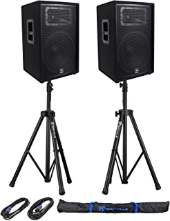 "(2) JBL Pro JRX215 15"" 2000w Passive 8 Ohm PA/DJ Speakers+Stands+Cables JRX 215"