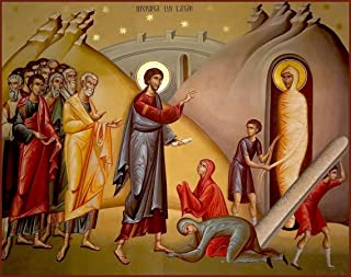 Coptic Lazarus from the Dead Canvas Icon Print. FREE PRIORITY SHIPPING!