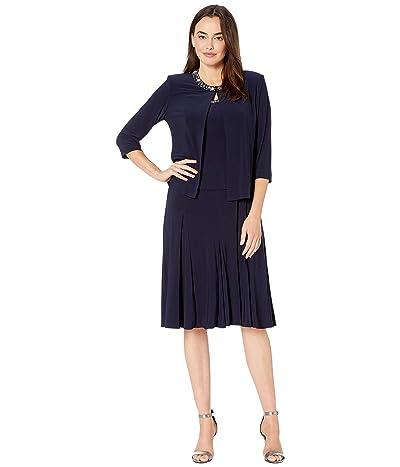 Alex Evenings Petite Tea Length Jacket Dress with Sequin Beaded Trim (Navy) Women