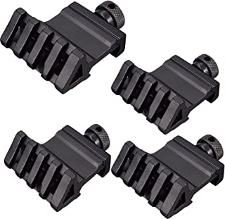 Liipor 4 pcs 45 Degree Angle Offset Side 4 Slot Mount 20mm Picatinny Weaver Laser Scope Rail Mount Base Adapter