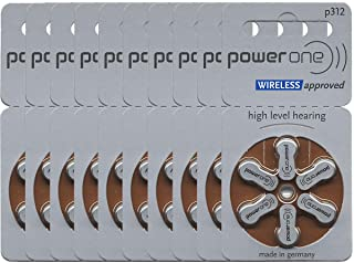 PowerOne Power One Size 312 Hearing Aid Battery No Mercury, 60 Batteries