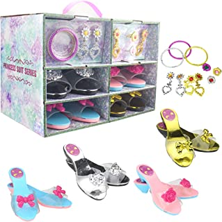 Princess Dress Up Set 4 Pairs of Shoes + Fashion Jewelry Accessories Little Girl Role Play Fashion Beauty Gift Set for Gir...
