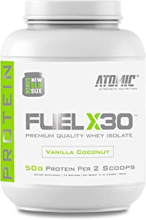 Fuel X30 Whey Isolate Protein by Atomic Strength Nutrition   Premium Quality Sugar Free Fat Free Gluten Free and Lactose Free (Vanilla Coconut, 5 Pound)