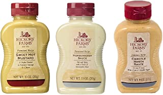 Hickory Farms Sweet Hot Mustard, Horseradish Sauce and Chipotle Ranch Sauce (3 Bottle Bundled Set)