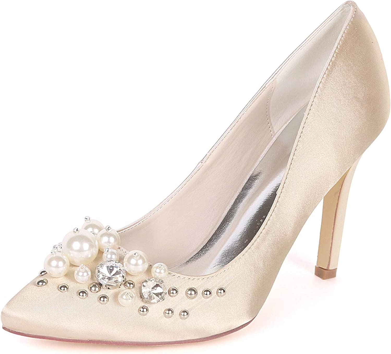 Myloo Women's Closed Toe High Heel Pumps Pearls Wedding Dress shoes