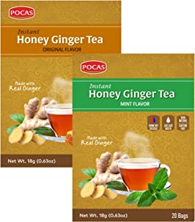Pocas Instant Honey Ginger Tea Original + Mint, Date, Ginseng, Cinnamon, Turmeric, Green Tea, Lemon or Soursop - 40 Bags (...