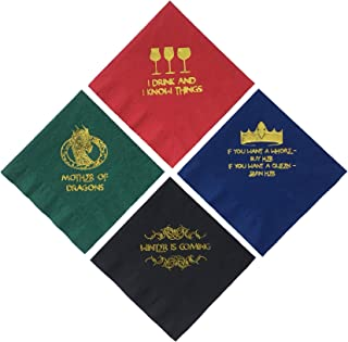 Game of Thrones Inspired Napkins Cocktail Beverage Drink Party Paper 40 Ct. 5 Inch. 4 Types