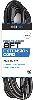8 Ft Outdoor Extension Cord - 16/3 Durable Black Cable - Great for Christmas Lights
