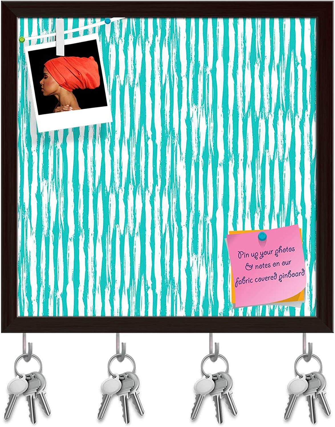 Artzfolio Striped Lines Key Holder Hooks   Notice Pin Board   Dark Brown Frame 20 X 20Inch