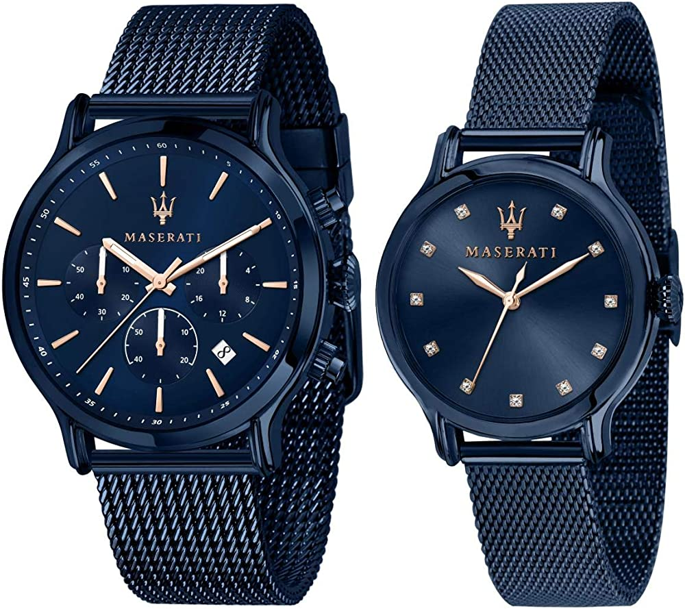 Maserati special pack per lui cronografo  e per lei, collezione blue edition, in acciaio, pvd blu 8033288907084