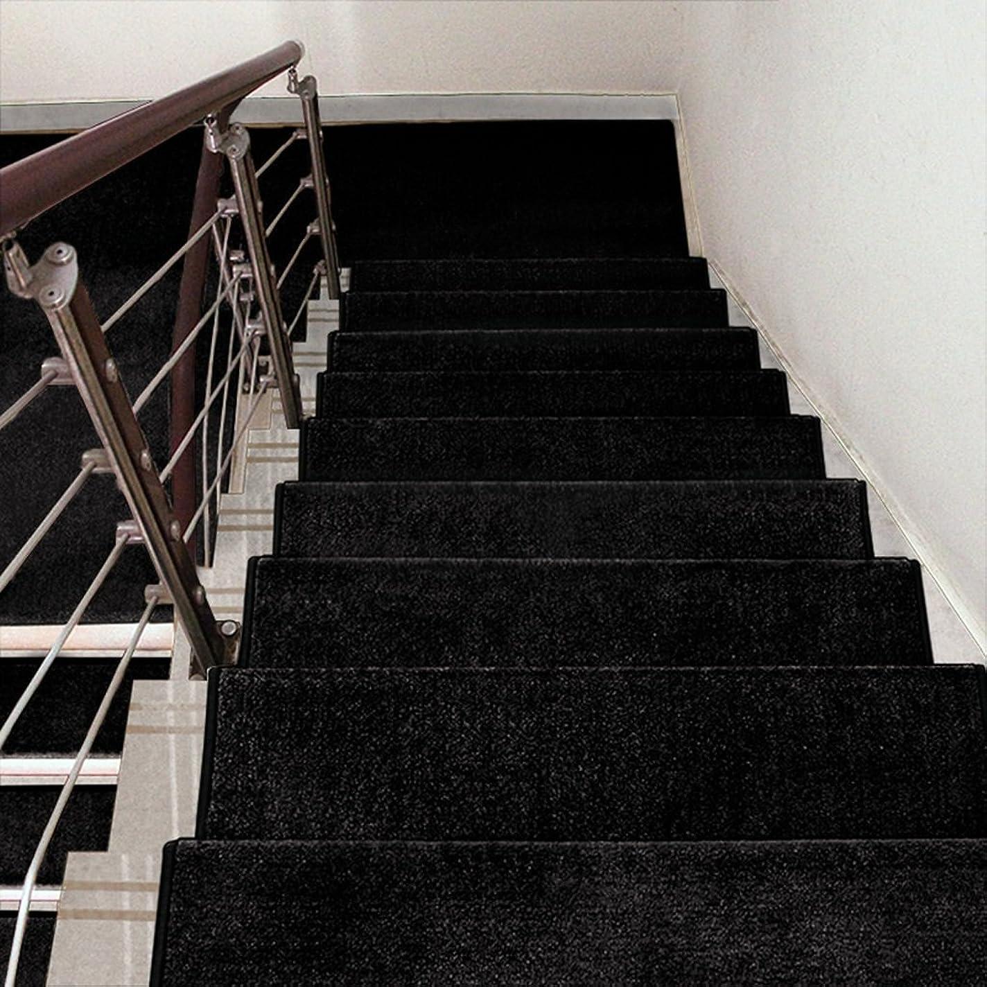いたずらゴールドなす自己粘着性滑り止めソリッドウッド家庭用ステップパッド余分な厚い無地の色の階段のカーペットの色のサイズ (色 : ブラック, サイズ さいず : 1 Piece-90*24cm)