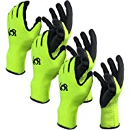 Work Gloves, Costech [Set of 3 Pairs] Knit Latex Coated General Work Glove ; Insulation; Large...