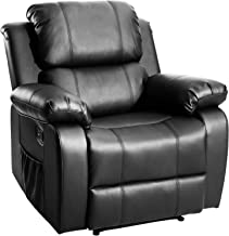 PU Heavy Duty Recliner Ergonomic Chair Sofa with Massage and Heat for Elderly, 3 Positions and a Side Pockets, Black