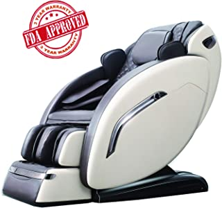 OOTORI Zero Gravity Massage Chair Recliner 3D Full Body Air Massage Chair with Yoga Stretching, SL Track, Bluetooth Speaker,LED Light Heat&Foot Roller (Beige)