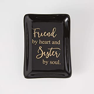 AmigasHome Elegant Unique Black Ceramic Decorative Trinket Dish Ring Bracelet Tray Necklace Holder with Writing in Gold for Friends and Family Highschool Reunion – Friends by Heart and Sister by Soul