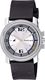 Fastrack Men's Silver Dial Polyurethane Band Watch - 3039SP01