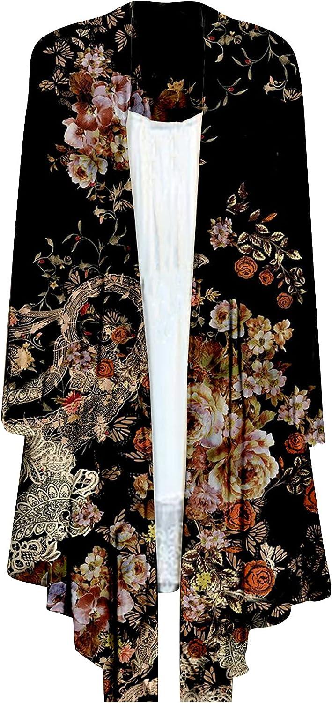 Women's Casual Folk-custom Floral Printed Coat Loose Long Sleeve Cardigan OPen Stitch Coat Tops Raincoat