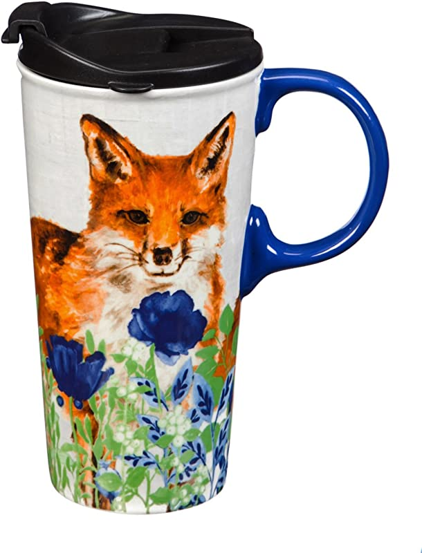 Flowers Fox 17 OZ Ceramic Travel Cup 4 X 5 X 7 Inches