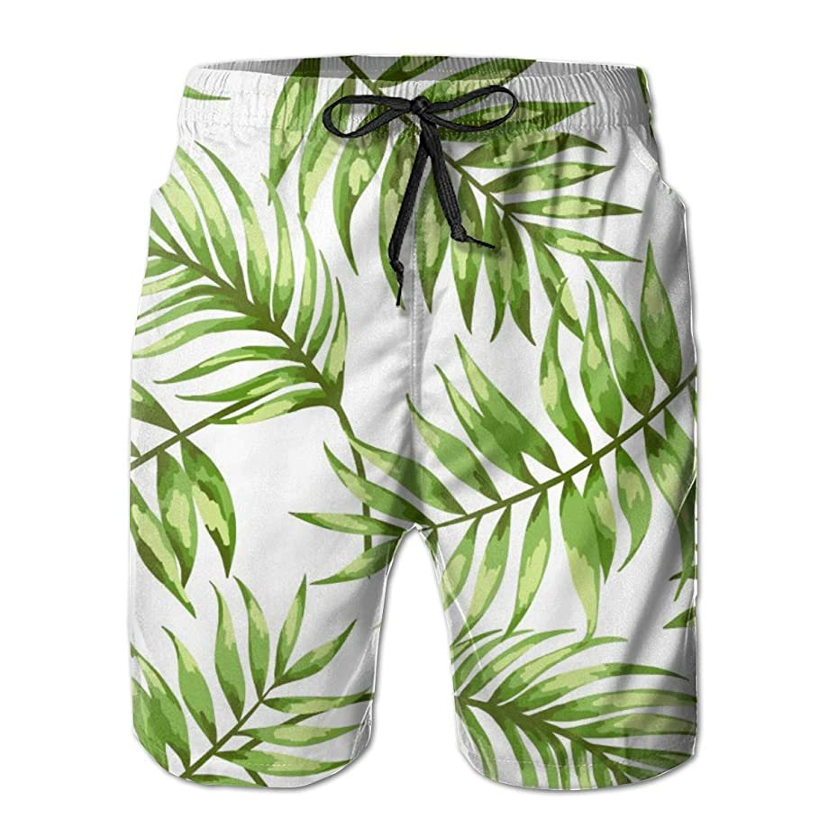 balloon heart Tropical Leaves Mens Beach Pants Swim Trunks Quick-Dry Board Trunks with Lining