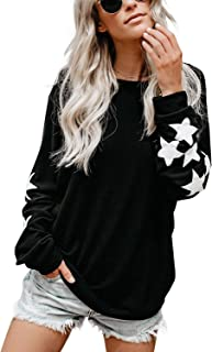 Womens Knit Pullover Sweaters Crewneck Long Sleeve Star...