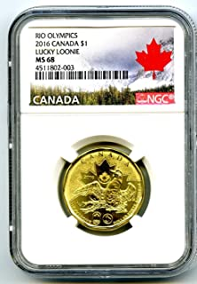 2016 Canada $1 Lucky Loonie RIO OLYMPICS Uncirculated TOP POPULATION=7 Dollar MS68 NGC