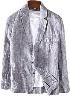 ZhongJue(ジュージェン) メンズ テーラード サマージャケット 麻 夏 ジャケット 無地 リネン ブレザーテーラード 綿麻ジャケット 薄手 夏 アウター