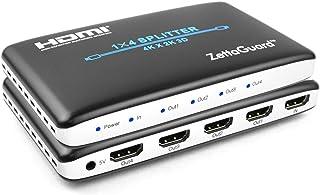 Zettaguard 1 x 4 HDMI Splitter 1 Input 4 Output Digital 1X4 Splitters with Full HD 4K x 2K, 3840 × 2160, 3D Support (ZW140)