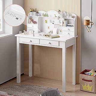 ADORNEVE Bureau d'ordinateur avec étagère de Rangement, Bureau d'écriture avec Ports USB et 6 tiroirs, Home Office Studen...