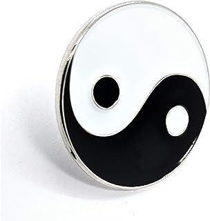 Spilla badge in metallo smaltato Ying Yang (Taiji Taijitu)(Yingyang Ying Yang)