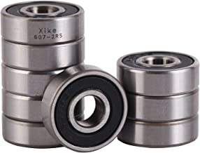 XiKe 10 Pcs 607-2RS Double Rubber Seal Bearings 7x19x6mm, Pre-Lubricated and Stable Performance and Cost Effective, Deep Groove Ball Bearings.