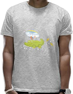 Man's Casual Super Soft Crew Neck Sleeping Crocodile T Shirts