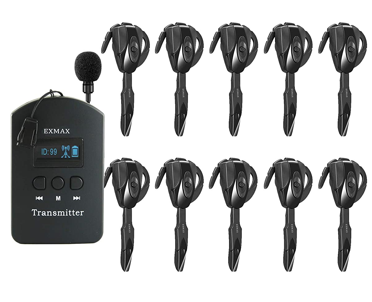 EXMAX ISM 2.4GHz-2.4835GHz Wireless Tour Guide Monitoring System Earhook Receiver Headset Microphone for Church,Simultaneous,Interpreting,Teaching,Conference,Travel(1 Transmitter 10 Receivers)