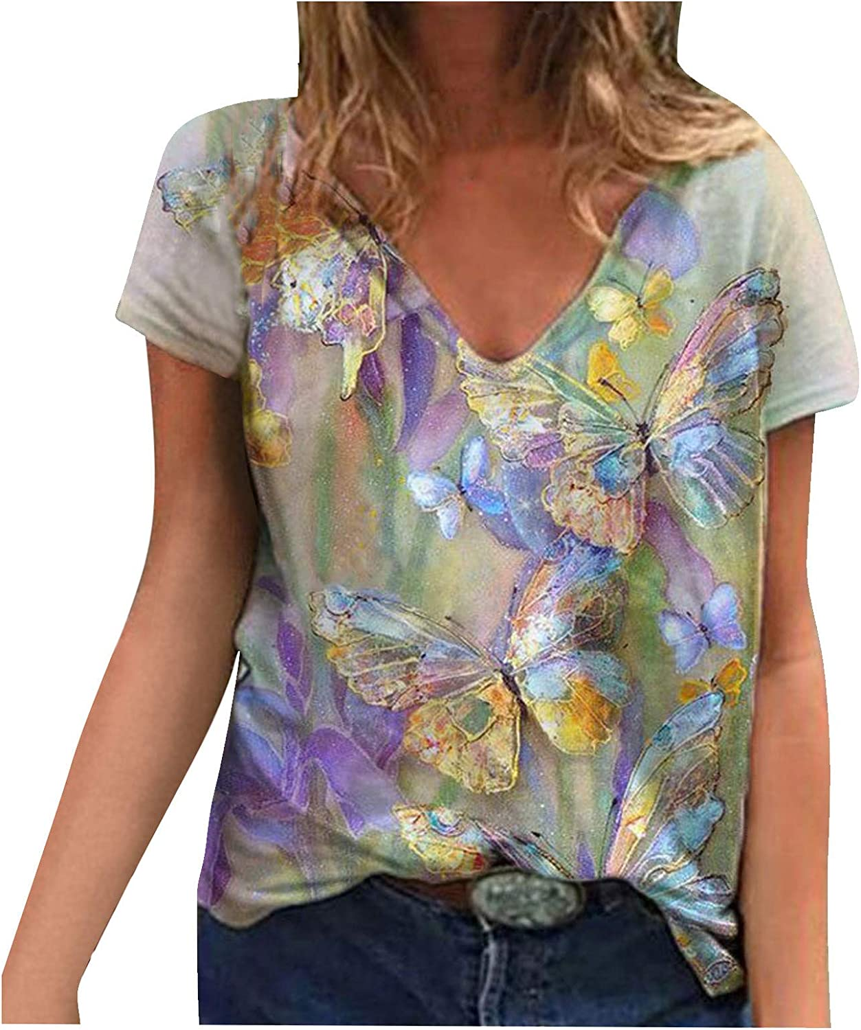 Women's T-Shirts Vintage V Neck Floral Print Short Sleeve Tops for Women Loose Fashion Tees