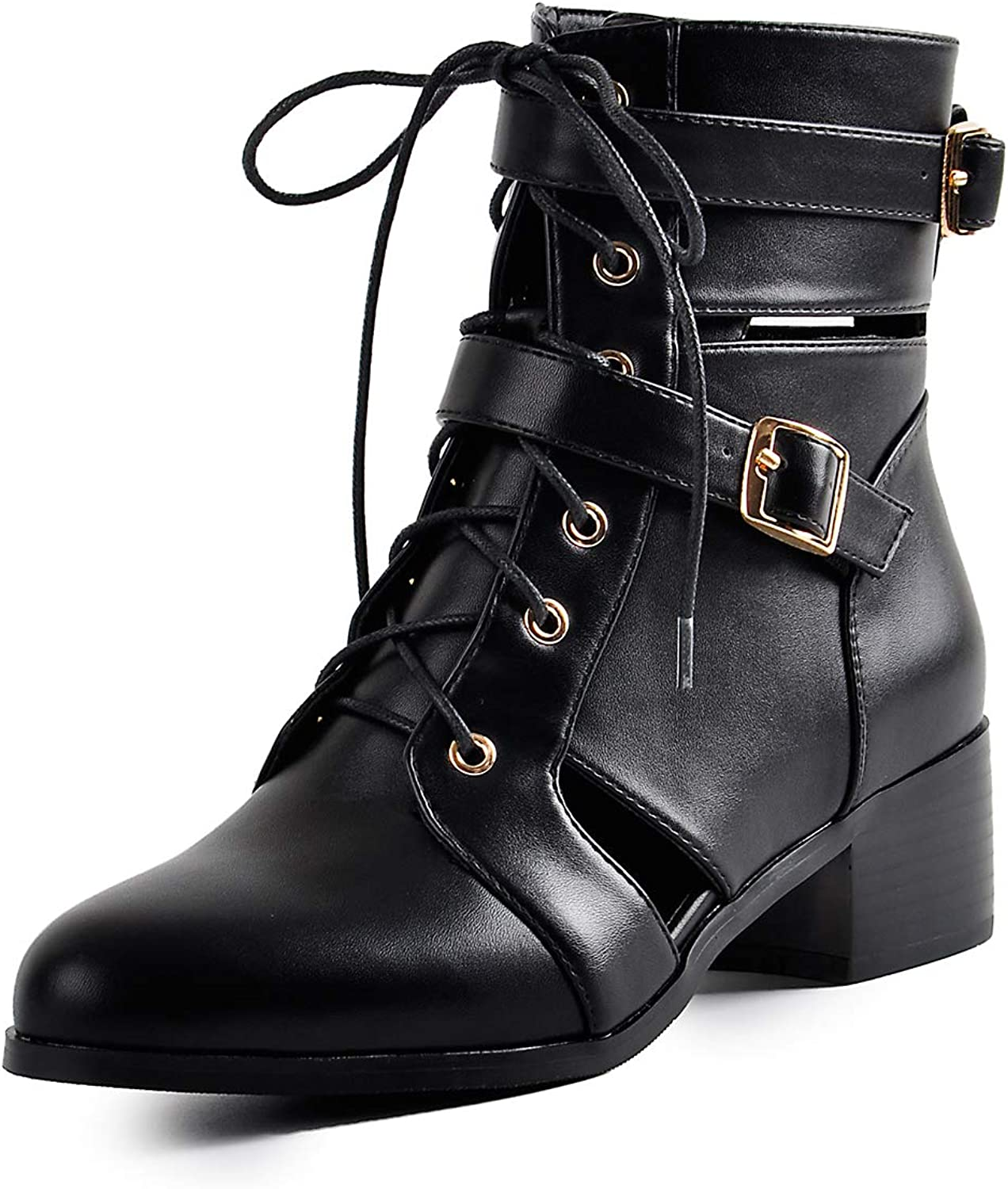 Onlymaker Womens Fashion Low Block Heel Ankle Boots Snakeskin Pattern Cut Out Buckle Strap Lace-up Martin Bootie Motorcycle Boots Black