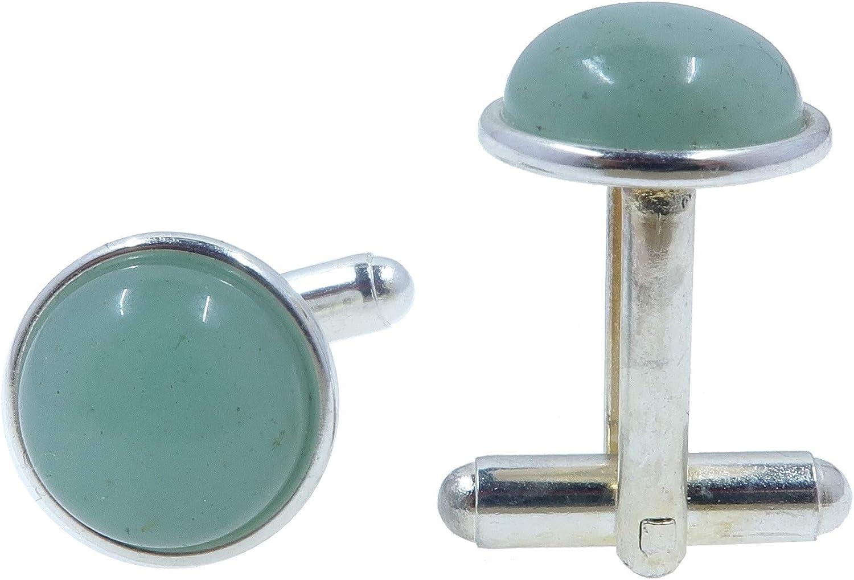 SatinCrystals Aventurine Green Cufflinks 12mm Round Gemstone Polished Circle Metal Accessories B01