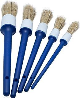 BlackZero Natural Boar Hair Detailing Brush 5pcs Set, Automotive Detail Brushes for Cleaning Wheels, Engine, Interior, Emb...