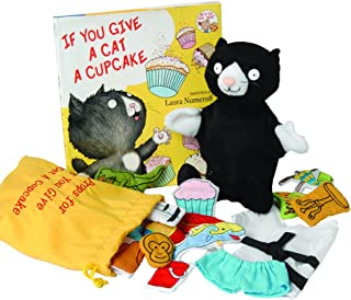 "Constructive Playthings""If You Give a Cat a Cupcake"" 17 pc. Puppet and Props Set with Hardcover Book for Ages 2 Years and Up"