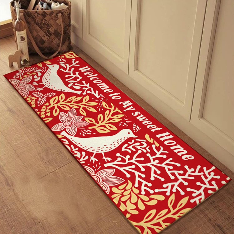 European-Style Suede Anti-Slip mat Bathroom and Kitchen Bedroom Blanket for Bedroom -B 60x150cm(24x59inch)