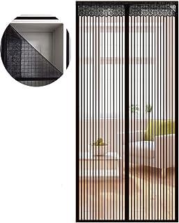 Icegrey moskitiera na drzwi balkonowe, do salonu, z zapięciem na rzep, kolor czarny, 75 x 200 cm