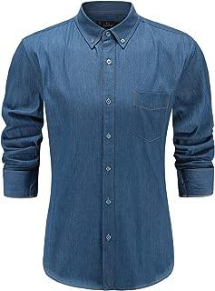 Emiqude Men's Slim Fit Casual Long Sleeve Denim Work Shirt
