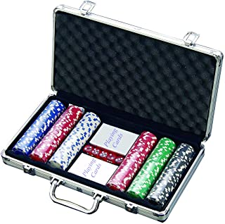 House of Quirk 300 Chip Dice Style Poker Set in Aluminum Case (11.5 Gram Chips) , 2 Decks of Cards, 5 dice