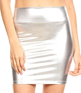 Sakkas Womens Metallic Sexy Shiny Stretchy Short Pencil Party Skirt Made in USA