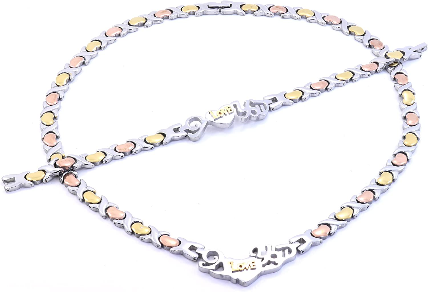 3 Tone I Love You HUGS and Kisses Necklace and Bracelet Set XOXO Stainless Steel 20