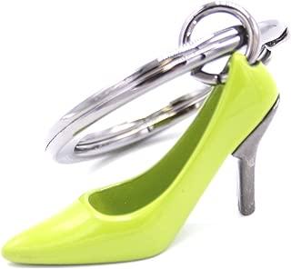 Llavero para ir de compras de plata y color verde 3D, con zapato de tacón alto con encanto. Precioso llavero con zapato de tacón alto de plata y color verde