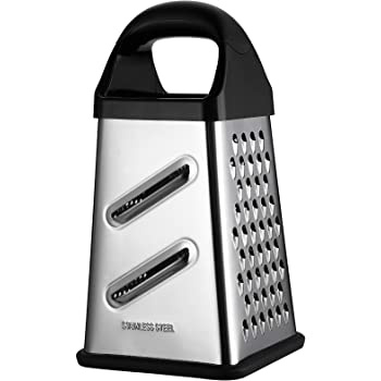 GUANCI Professional Box Grater, 4-Sided Stainless Steel Large 10-inch Grater for Parmesan Cheese, Ginger, Vegetables,fruits, chocolate, nuts and more