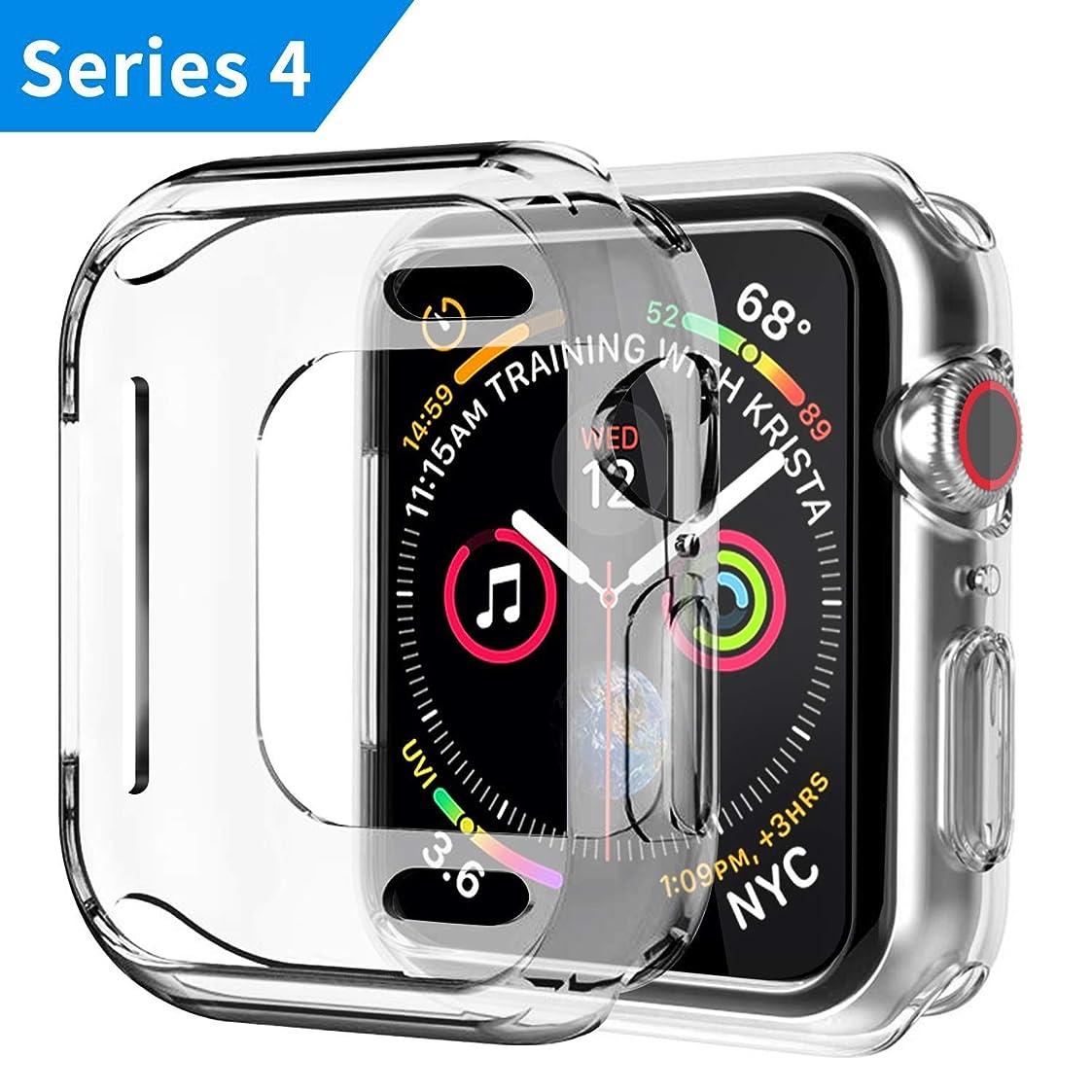 不規則な落ち込んでいる対立Apple Watch Series 4 ケース 44mm Apple Watch Series 4 カバー 44mm クリスタル クリア 透明 TPU素材 落下防止&衝撃吸収 擦り傷防止 薄&柔軟型 軽量