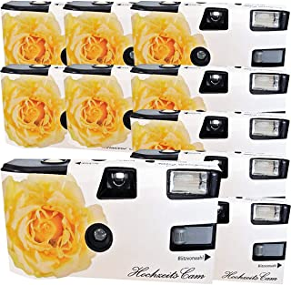 10 x Photo Porst Boda Cámara/cámara desechable Crema Amarillas de Bodas Rose (Instrucciones en alemán con Flash luz y Pilas por 27 Fotos ISO 400 Fuji)